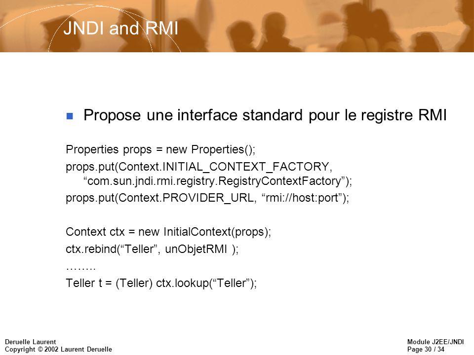 Module J2EE/JNDI Page 30 / 34 Deruelle Laurent Copyright © 2002 Laurent Deruelle JNDI and RMI n Propose une interface standard pour le registre RMI Properties props = new Properties(); props.put(Context.INITIAL_CONTEXT_FACTORY, com.sun.jndi.rmi.registry.RegistryContextFactory); props.put(Context.PROVIDER_URL, rmi://host:port); Context ctx = new InitialContext(props); ctx.rebind(Teller, unObjetRMI ); ……..