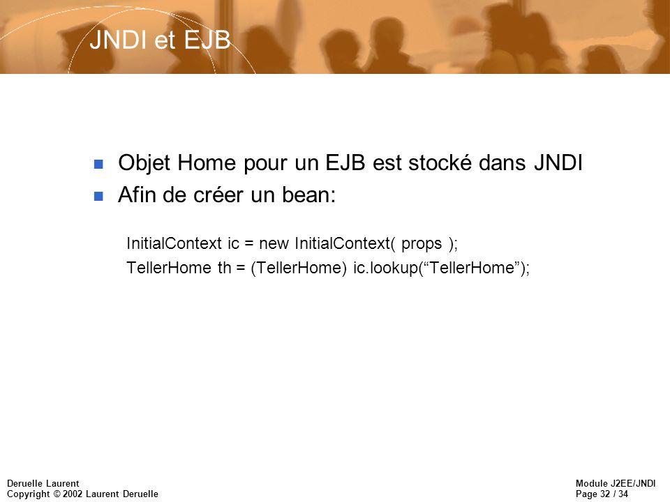 Module J2EE/JNDI Page 32 / 34 Deruelle Laurent Copyright © 2002 Laurent Deruelle JNDI et EJB n Objet Home pour un EJB est stocké dans JNDI n Afin de créer un bean: InitialContext ic = new InitialContext( props ); TellerHome th = (TellerHome) ic.lookup(TellerHome);
