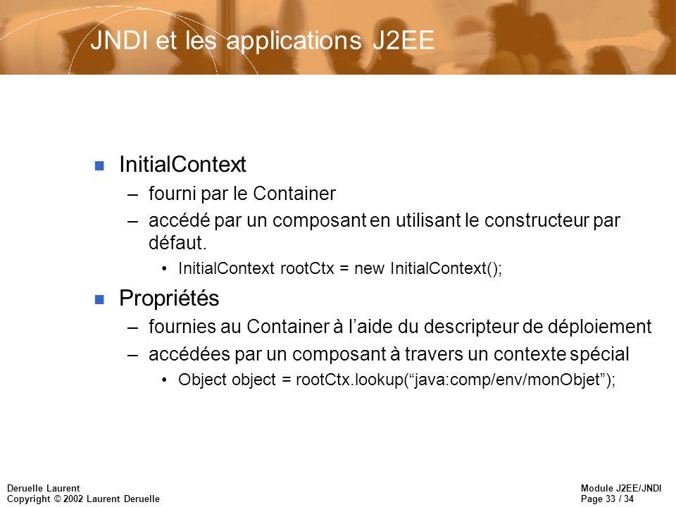 Module J2EE/JNDI Page 33 / 34 Deruelle Laurent Copyright © 2002 Laurent Deruelle JNDI et les applications J2EE n InitialContext –fourni par le Contain