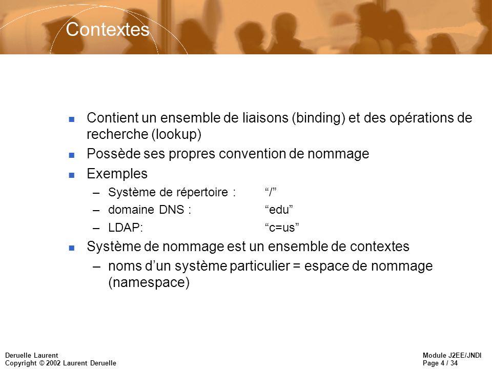 Module J2EE/JNDI Page 4 / 34 Deruelle Laurent Copyright © 2002 Laurent Deruelle Contextes n Contient un ensemble de liaisons (binding) et des opérations de recherche (lookup) n Possède ses propres convention de nommage n Exemples –Système de répertoire :/ –domaine DNS :edu –LDAP: c=us n Système de nommage est un ensemble de contextes –noms dun système particulier = espace de nommage (namespace)