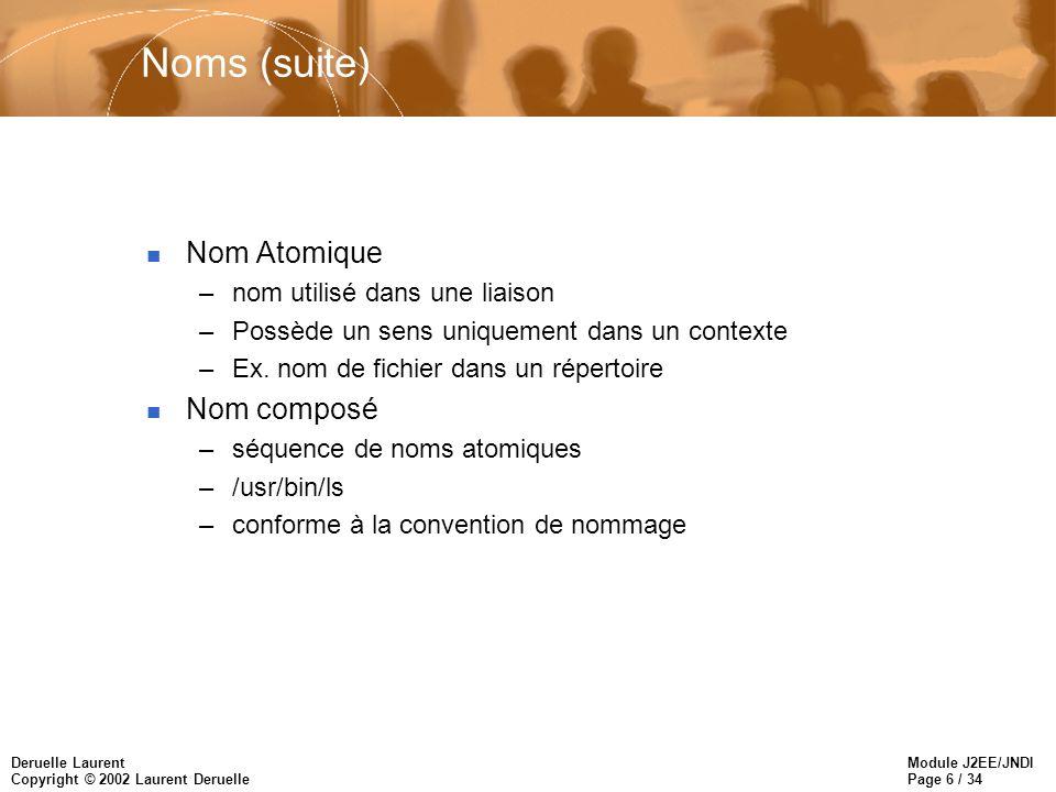 Module J2EE/JNDI Page 7 / 34 Deruelle Laurent Copyright © 2002 Laurent Deruelle Names (Cont) n Nom composite –Couvre de multiple systèmes de nommage –http://www.apl.jhu.edu/~deruelle/ URL id: http DNS: www.apl.jhu.edu UNIX et serveur web: /usr/deruelle/public_html n Résolution Object o = ctx.lookup(usr/deruelle/public_html);