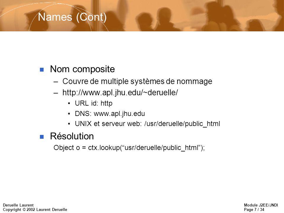 Module J2EE/JNDI Page 28 / 34 Deruelle Laurent Copyright © 2002 Laurent Deruelle javax.naming.Context bind(String name, Object obj) createSubcontext(String name) : Context list(String name) : NamingEnumeration listBindings(String name) : NamingEnumeration lookup(String name) : Object > javax.naming.InitialContext InitialContext() InitialContext(java.util.Hashtable env) javax.naming.directory.InitialDirContext InitialDirContext() InitialDirContext(Hashtable env) javax.naming.directory.DirContext getAttributes() : Attributes search(String name, Attributes matchingAttributes) : NamingEnumeration >