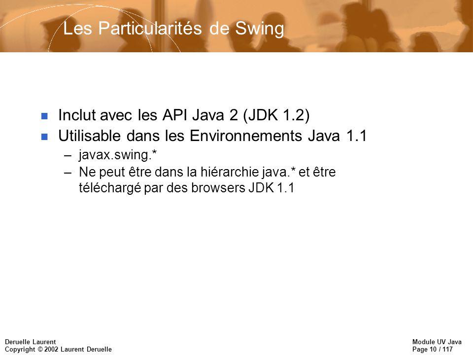 Module UV Java Page 10 / 117 Deruelle Laurent Copyright © 2002 Laurent Deruelle Les Particularités de Swing n Inclut avec les API Java 2 (JDK 1.2) n Utilisable dans les Environnements Java 1.1 –javax.swing.* –Ne peut être dans la hiérarchie java.* et être téléchargé par des browsers JDK 1.1