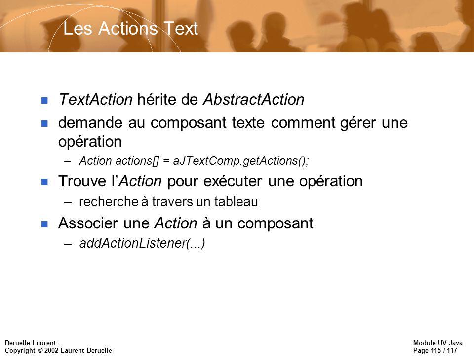 Module UV Java Page 115 / 117 Deruelle Laurent Copyright © 2002 Laurent Deruelle Les Actions Text n TextAction hérite de AbstractAction n demande au composant texte comment gérer une opération –Action actions[] = aJTextComp.getActions(); n Trouve lAction pour exécuter une opération –recherche à travers un tableau n Associer une Action à un composant –addActionListener(...)