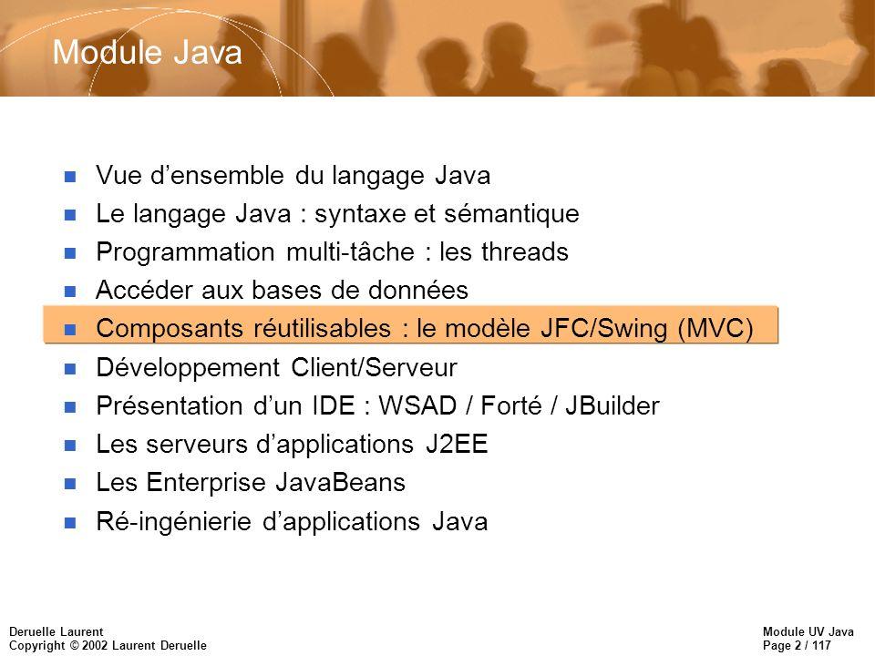 Module UV Java Page 2 / 117 Deruelle Laurent Copyright © 2002 Laurent Deruelle Module Java n Vue densemble du langage Java n Le langage Java : syntaxe et sémantique n Programmation multi-tâche : les threads n Accéder aux bases de données n Composants réutilisables : le modèle JFC/Swing (MVC) n Développement Client/Serveur n Présentation dun IDE : WSAD / Forté / JBuilder n Les serveurs dapplications J2EE n Les Enterprise JavaBeans n Ré-ingénierie dapplications Java