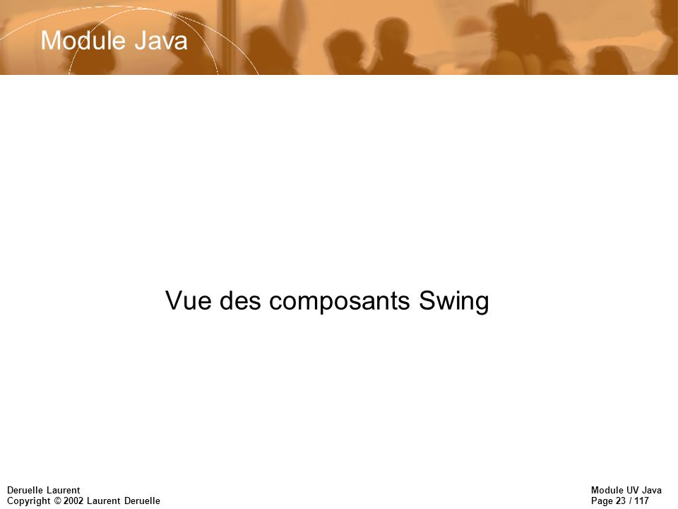 Module UV Java Page 23 / 117 Deruelle Laurent Copyright © 2002 Laurent Deruelle Vue des composants Swing Module Java