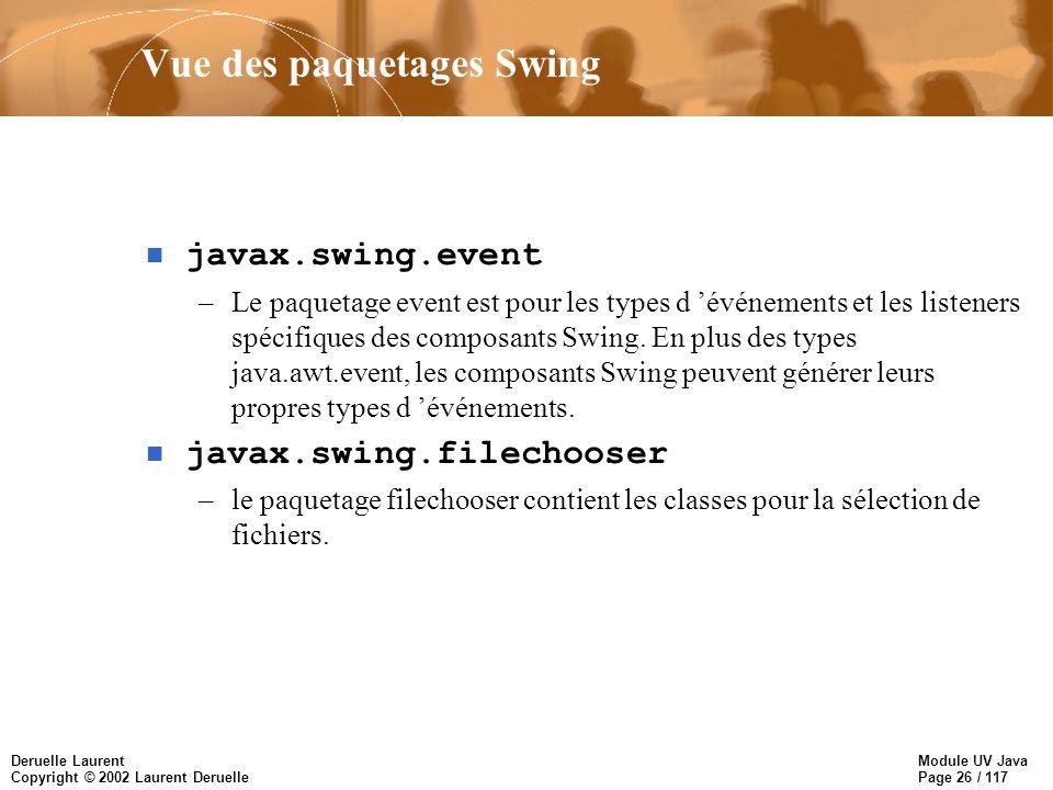 Module UV Java Page 26 / 117 Deruelle Laurent Copyright © 2002 Laurent Deruelle Vue des paquetages Swing n javax.swing.event –Le paquetage event est pour les types d événements et les listeners spécifiques des composants Swing.