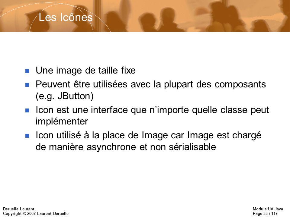 Module UV Java Page 33 / 117 Deruelle Laurent Copyright © 2002 Laurent Deruelle Les Icônes n Une image de taille fixe n Peuvent être utilisées avec la plupart des composants (e.g.