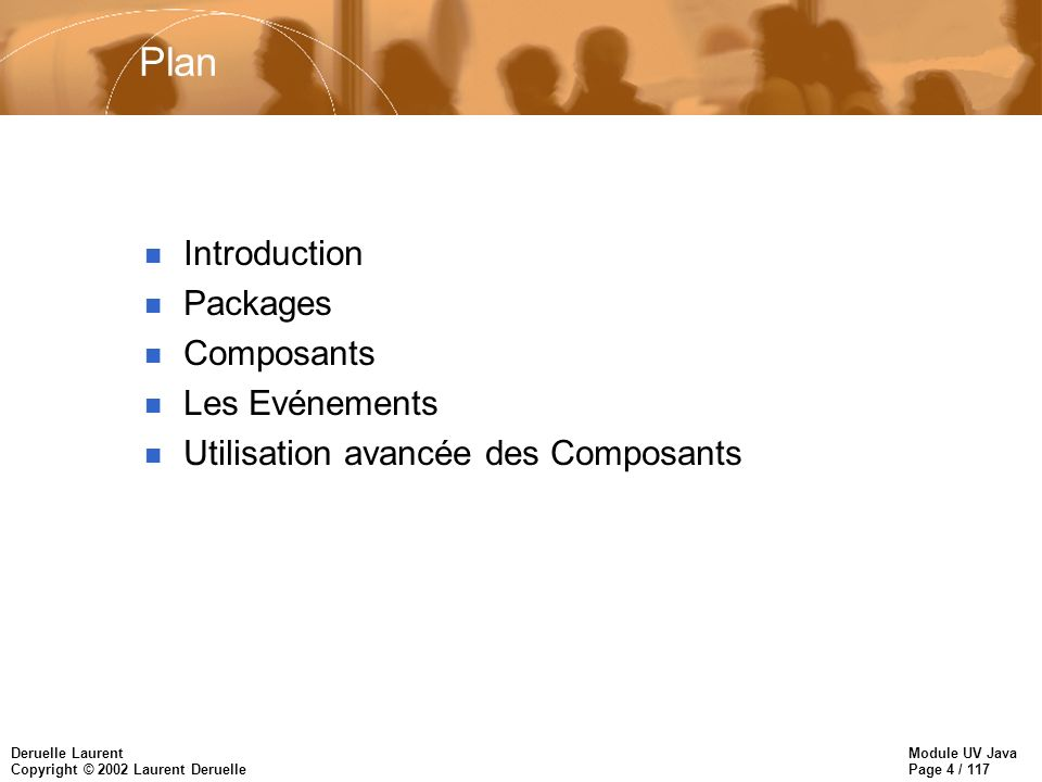 Module UV Java Page 4 / 117 Deruelle Laurent Copyright © 2002 Laurent Deruelle Plan n Introduction n Packages n Composants n Les Evénements n Utilisation avancée des Composants