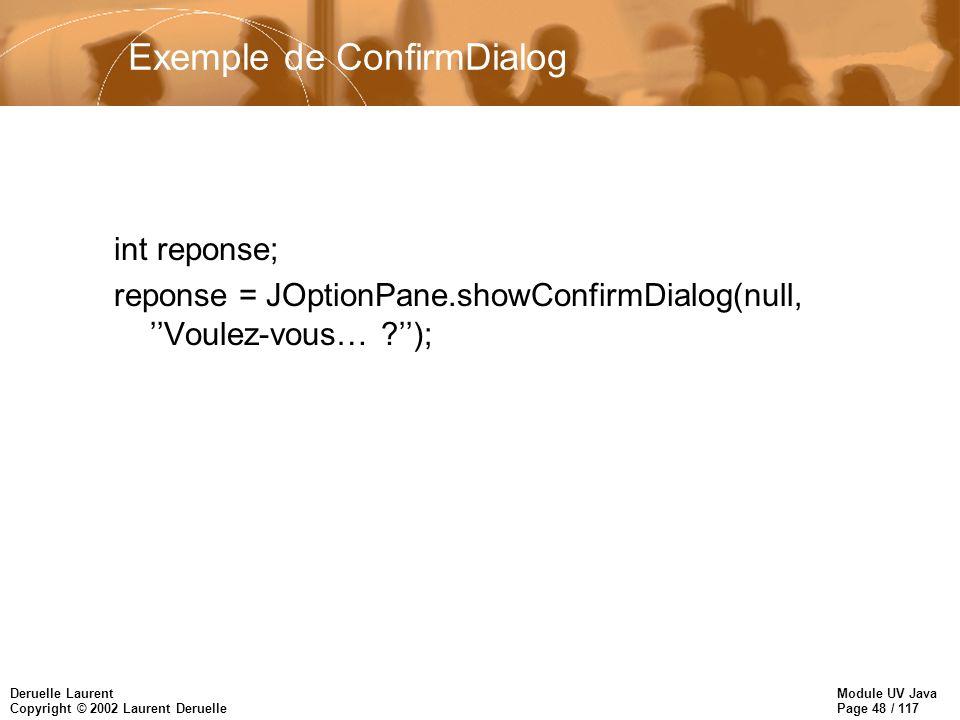 Module UV Java Page 48 / 117 Deruelle Laurent Copyright © 2002 Laurent Deruelle Exemple de ConfirmDialog int reponse; reponse = JOptionPane.showConfirmDialog(null, Voulez-vous… );