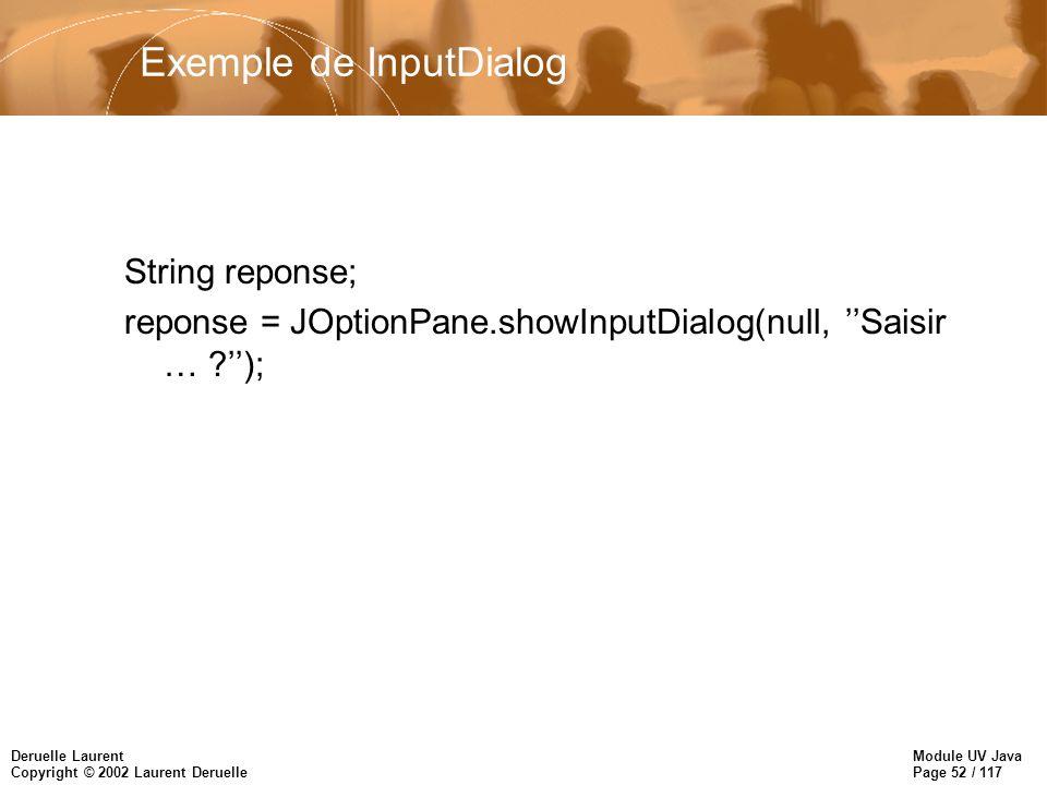 Module UV Java Page 52 / 117 Deruelle Laurent Copyright © 2002 Laurent Deruelle Exemple de InputDialog String reponse; reponse = JOptionPane.showInputDialog(null, Saisir … );