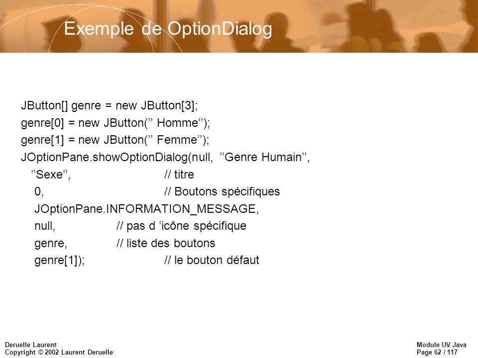 Module UV Java Page 62 / 117 Deruelle Laurent Copyright © 2002 Laurent Deruelle Exemple de OptionDialog JButton[] genre = new JButton[3]; genre[0] = new JButton( Homme); genre[1] = new JButton( Femme); JOptionPane.showOptionDialog(null, Genre Humain, Sexe,// titre 0, // Boutons spécifiques JOptionPane.INFORMATION_MESSAGE, null,// pas d icône spécifique genre,// liste des boutons genre[1]);// le bouton défaut