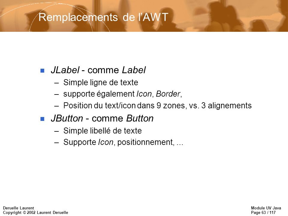 Module UV Java Page 63 / 117 Deruelle Laurent Copyright © 2002 Laurent Deruelle Remplacements de lAWT n JLabel - comme Label –Simple ligne de texte –supporte également Icon, Border, –Position du text/icon dans 9 zones, vs.