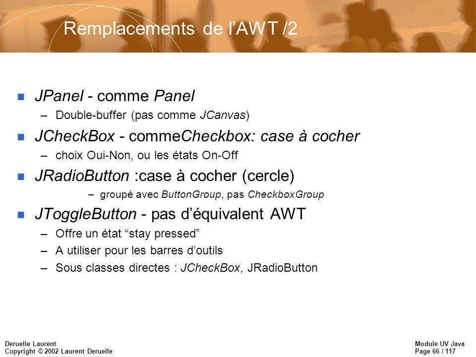 Module UV Java Page 66 / 117 Deruelle Laurent Copyright © 2002 Laurent Deruelle Remplacements de lAWT /2 n JPanel - comme Panel –Double-buffer (pas comme JCanvas) n JCheckBox - commeCheckbox: case à cocher –choix Oui-Non, ou les états On-Off n JRadioButton :case à cocher (cercle) –groupé avec ButtonGroup, pas CheckboxGroup n JToggleButton - pas déquivalent AWT –Offre un état stay pressed –A utiliser pour les barres doutils –Sous classes directes : JCheckBox, JRadioButton