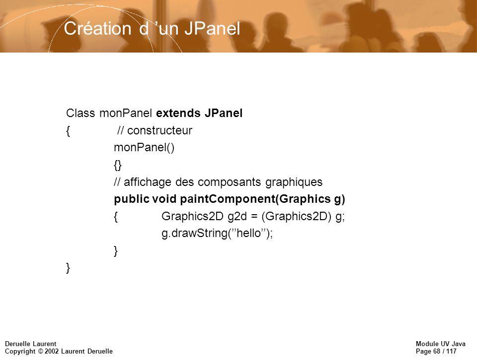 Module UV Java Page 68 / 117 Deruelle Laurent Copyright © 2002 Laurent Deruelle Création d un JPanel Class monPanel extends JPanel { // constructeur monPanel() {} // affichage des composants graphiques public void paintComponent(Graphics g) {Graphics2D g2d = (Graphics2D) g; g.drawString(hello); }