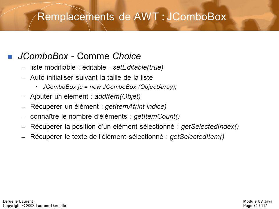 Module UV Java Page 74 / 117 Deruelle Laurent Copyright © 2002 Laurent Deruelle Remplacements de AWT : JComboBox n JComboBox - Comme Choice –liste modifiable : éditable - setEditable(true) –Auto-initialiser suivant la taille de la liste JComboBox jc = new JComboBox (ObjectArray); –Ajouter un élément : addItem(Objet) –Récupérer un élément : getItemAt(int indice) –connaître le nombre déléments : getItemCount() –Récupérer la position dun élément sélectionné : getSelectedIndex() –Récupérer le texte de lélément sélectionné : getSelectedItem()