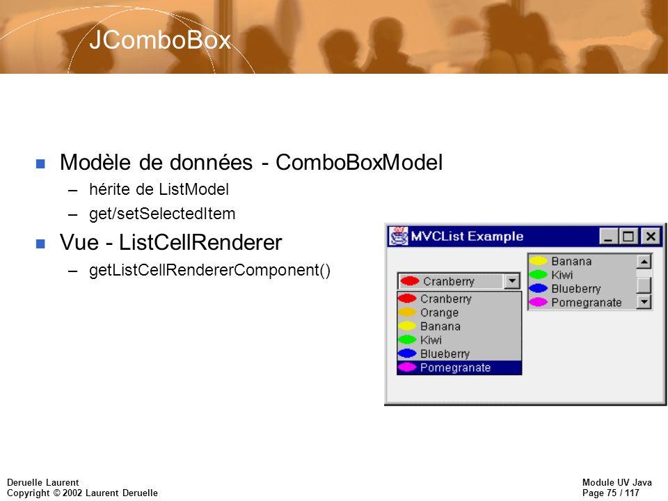 Module UV Java Page 75 / 117 Deruelle Laurent Copyright © 2002 Laurent Deruelle JComboBox n Modèle de données - ComboBoxModel –hérite de ListModel –get/setSelectedItem n Vue - ListCellRenderer –getListCellRendererComponent()