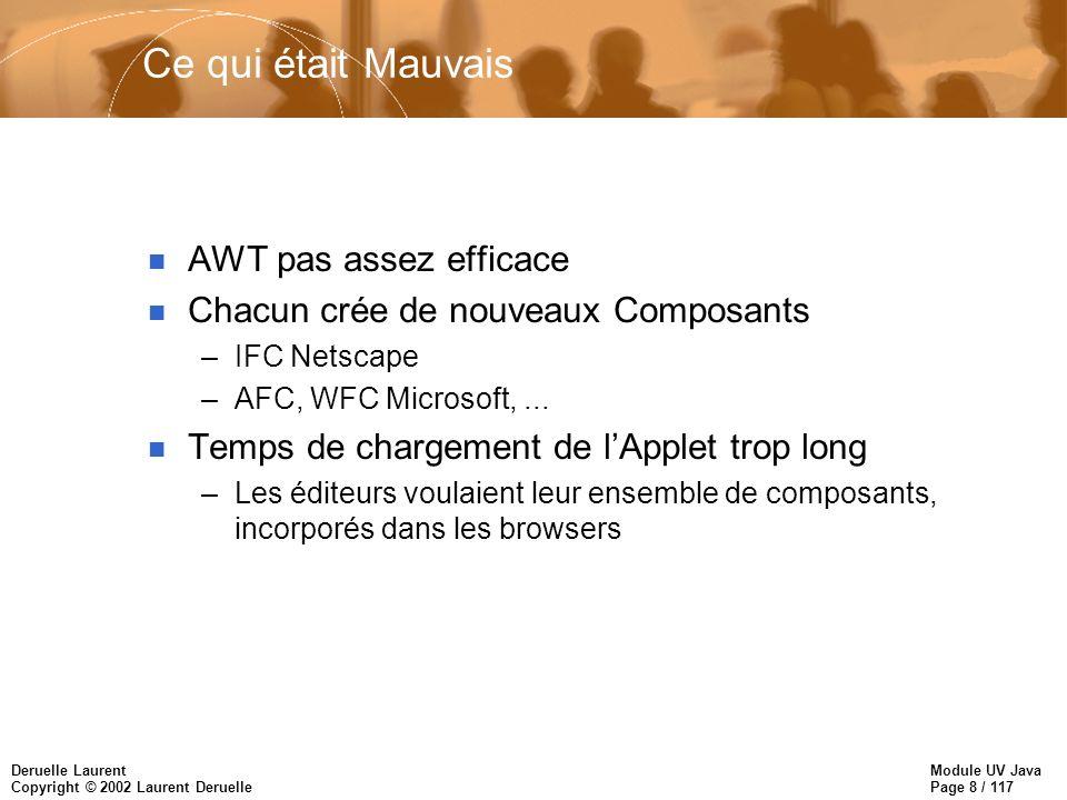 Module UV Java Page 8 / 117 Deruelle Laurent Copyright © 2002 Laurent Deruelle Ce qui était Mauvais n AWT pas assez efficace n Chacun crée de nouveaux Composants –IFC Netscape –AFC, WFC Microsoft,...