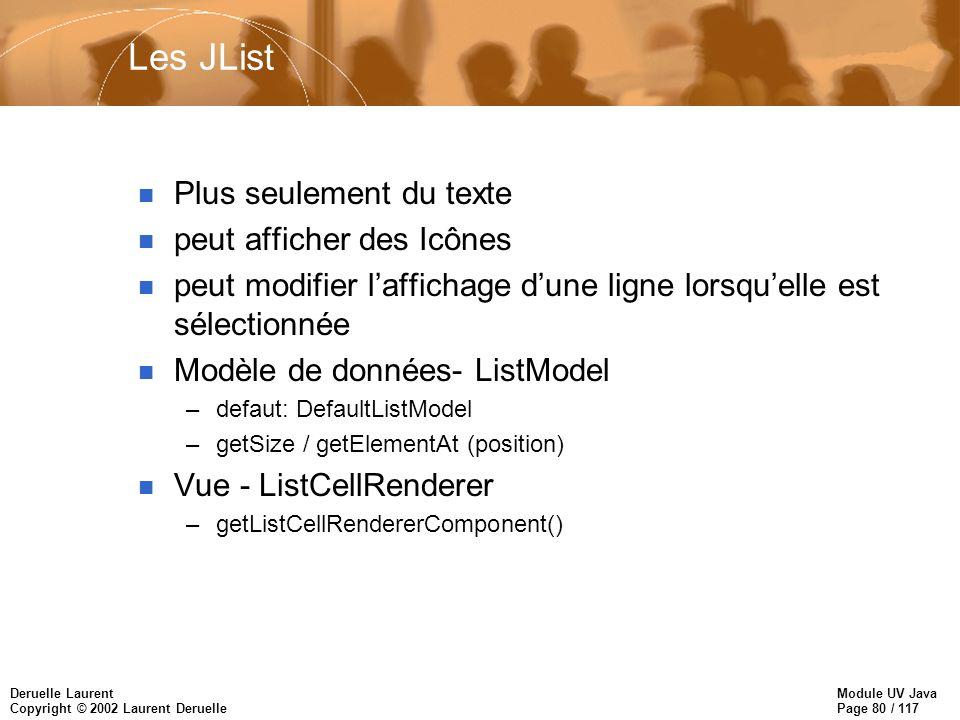 Module UV Java Page 80 / 117 Deruelle Laurent Copyright © 2002 Laurent Deruelle Les JList n Plus seulement du texte n peut afficher des Icônes n peut modifier laffichage dune ligne lorsquelle est sélectionnée n Modèle de données- ListModel –defaut: DefaultListModel –getSize / getElementAt (position) n Vue - ListCellRenderer –getListCellRendererComponent()