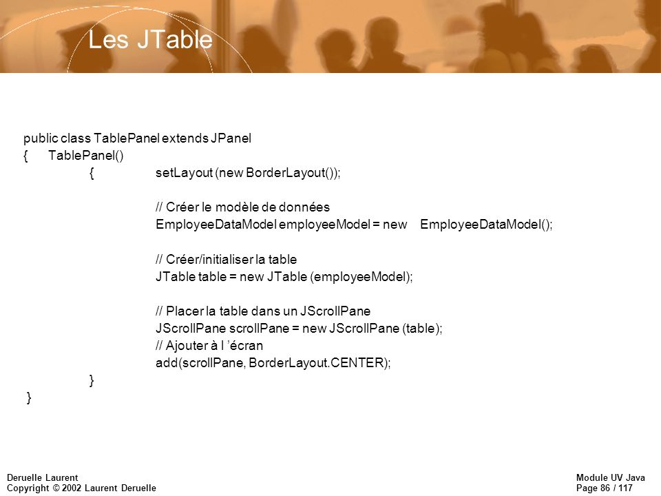 Module UV Java Page 86 / 117 Deruelle Laurent Copyright © 2002 Laurent Deruelle Les JTable public class TablePanel extends JPanel { TablePanel() { setLayout (new BorderLayout()); // Créer le modèle de données EmployeeDataModel employeeModel = new EmployeeDataModel(); // Créer/initialiser la table JTable table = new JTable (employeeModel); // Placer la table dans un JScrollPane JScrollPane scrollPane = new JScrollPane (table); // Ajouter à l écran add(scrollPane, BorderLayout.CENTER); }