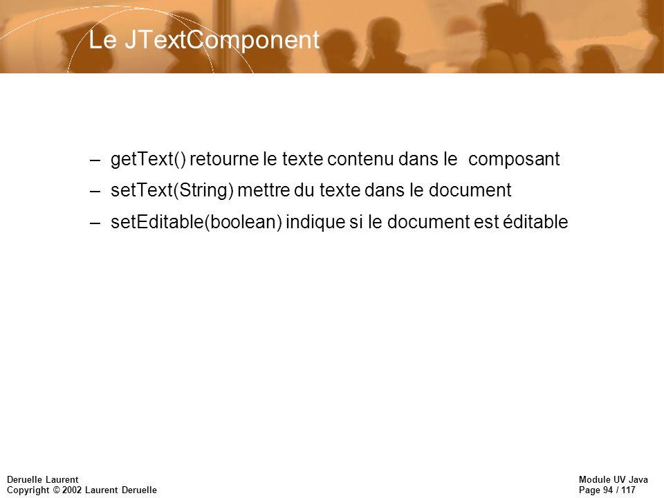 Module UV Java Page 94 / 117 Deruelle Laurent Copyright © 2002 Laurent Deruelle Le JTextComponent –getText() retourne le texte contenu dans le composant –setText(String) mettre du texte dans le document –setEditable(boolean) indique si le document est éditable