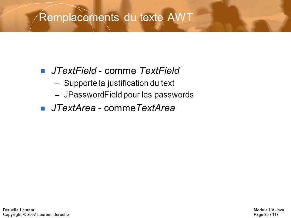 Module UV Java Page 95 / 117 Deruelle Laurent Copyright © 2002 Laurent Deruelle Remplacements du texte AWT n JTextField - comme TextField –Supporte la justification du text –JPasswordField pour les passwords n JTextArea - commeTextArea