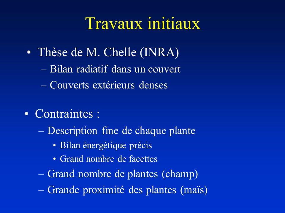 Travaux initiaux Contraintes : –Description fine de chaque plante Bilan énergétique précis Grand nombre de facettes –Grand nombre de plantes (champ) –