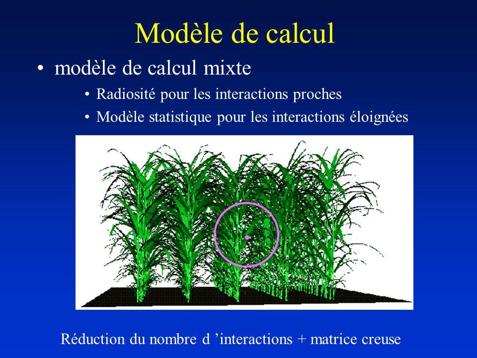 Modèle de calcul modèle de calcul mixte Radiosité pour les interactions proches Modèle statistique pour les interactions éloignées Réduction du nombre