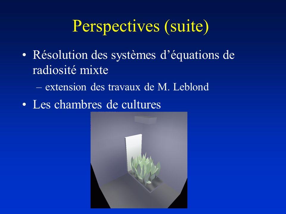 Perspectives (suite) Résolution des systèmes déquations de radiosité mixte –extension des travaux de M. Leblond Les chambres de cultures