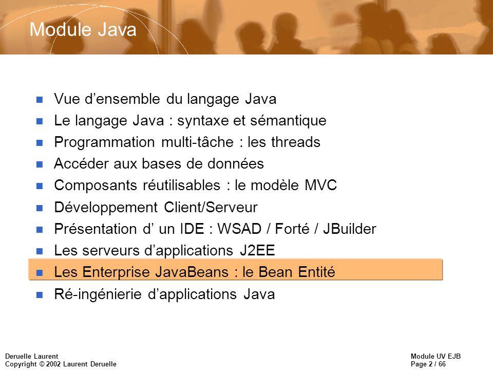 Module UV EJB Page 2 / 66 Deruelle Laurent Copyright © 2002 Laurent Deruelle Module Java n Vue densemble du langage Java n Le langage Java : syntaxe et sémantique n Programmation multi-tâche : les threads n Accéder aux bases de données n Composants réutilisables : le modèle MVC n Développement Client/Serveur n Présentation d un IDE : WSAD / Forté / JBuilder n Les serveurs dapplications J2EE n Les Enterprise JavaBeans : le Bean Entité n Ré-ingénierie dapplications Java