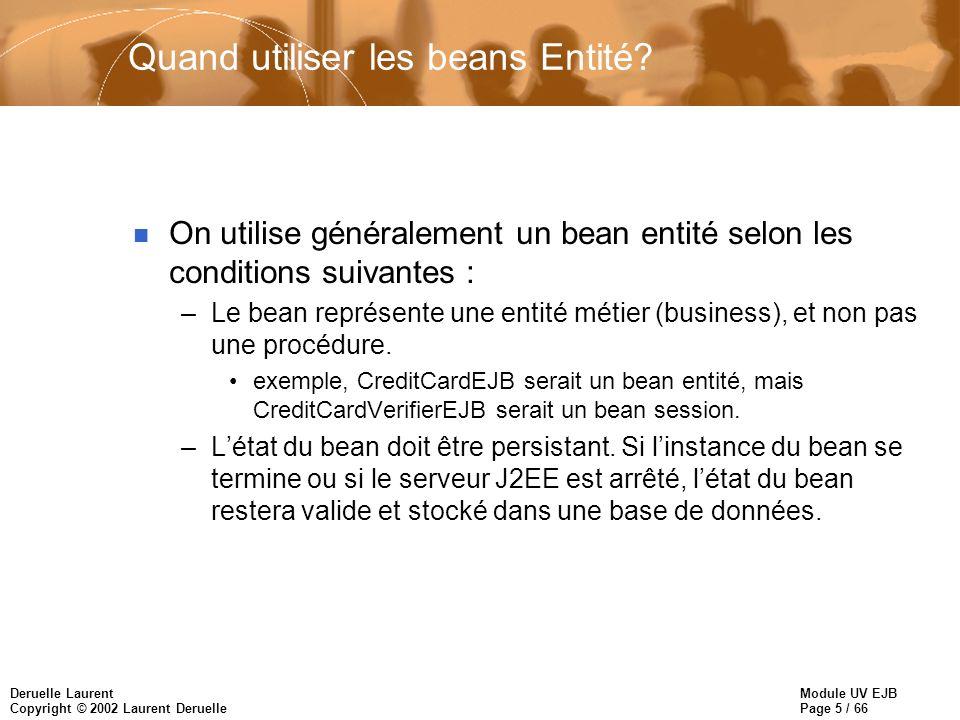 Module UV EJB Page 5 / 66 Deruelle Laurent Copyright © 2002 Laurent Deruelle Quand utiliser les beans Entité.