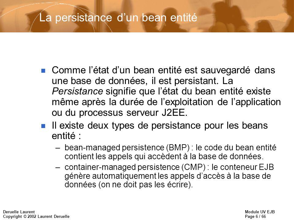 Module UV EJB Page 6 / 66 Deruelle Laurent Copyright © 2002 Laurent Deruelle La persistance dun bean entité n Comme létat dun bean entité est sauvegardé dans une base de données, il est persistant.