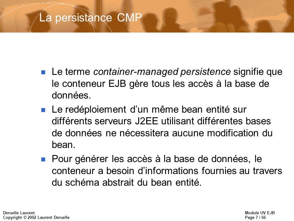 Module UV EJB Page 7 / 66 Deruelle Laurent Copyright © 2002 Laurent Deruelle La persistance CMP n Le terme container-managed persistence signifie que le conteneur EJB gère tous les accès à la base de données.