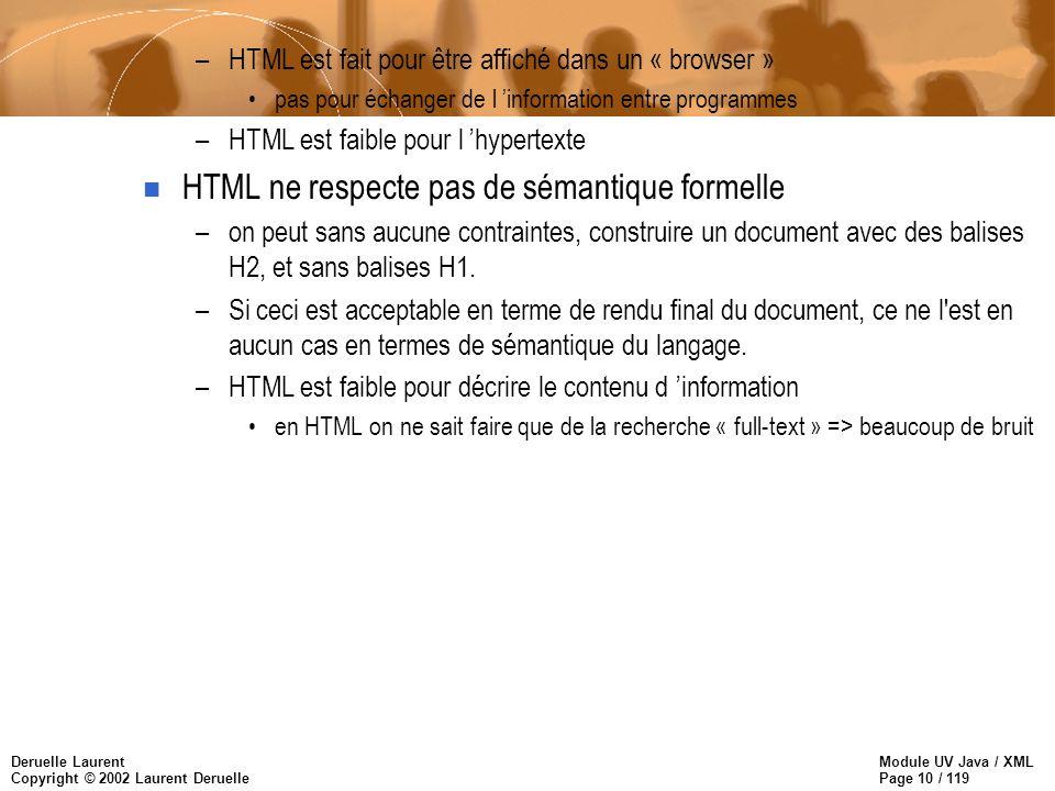Module UV Java / XML Page 10 / 119 Deruelle Laurent Copyright © 2002 Laurent Deruelle –HTML est fait pour être affiché dans un « browser » pas pour éc