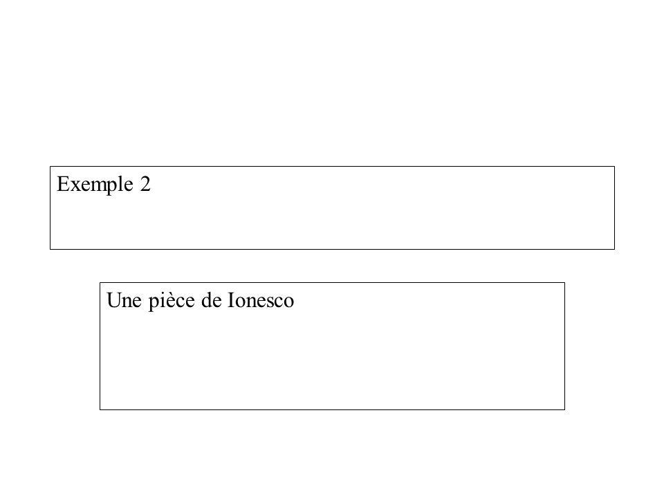 Exemple 2 Une pièce de Ionesco