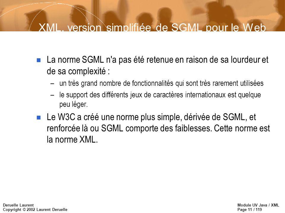 Module UV Java / XML Page 11 / 119 Deruelle Laurent Copyright © 2002 Laurent Deruelle XML, version simplifiée de SGML pour le Web n La norme SGML n'a