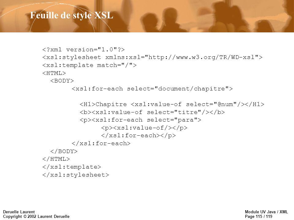 Module UV Java / XML Page 115 / 119 Deruelle Laurent Copyright © 2002 Laurent Deruelle Chapitre Feuille de style XSL