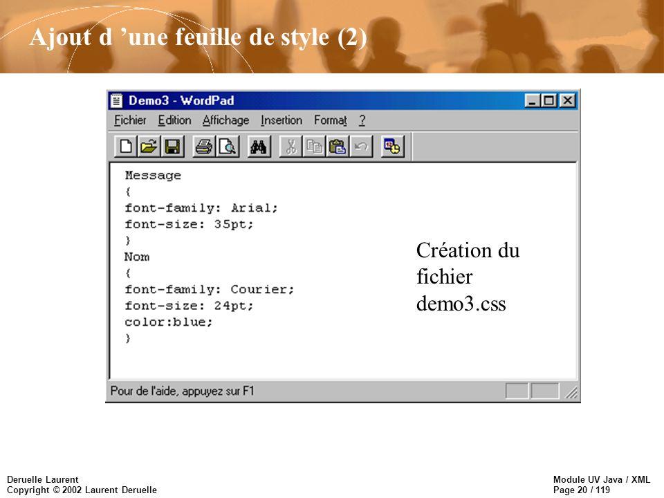 Module UV Java / XML Page 20 / 119 Deruelle Laurent Copyright © 2002 Laurent Deruelle Ajout d une feuille de style (2) Création du fichier demo3.css