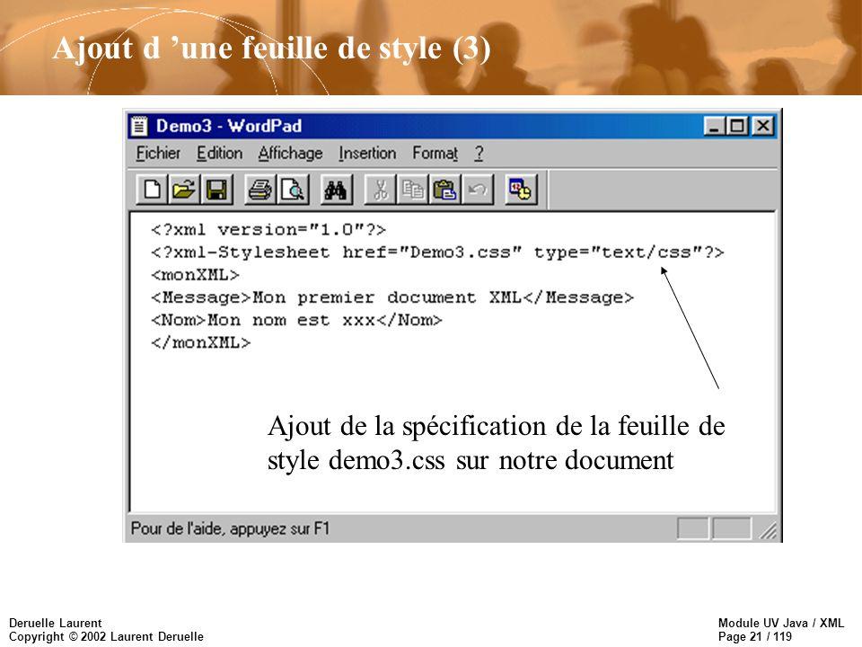 Module UV Java / XML Page 21 / 119 Deruelle Laurent Copyright © 2002 Laurent Deruelle Ajout d une feuille de style (3) Ajout de la spécification de la