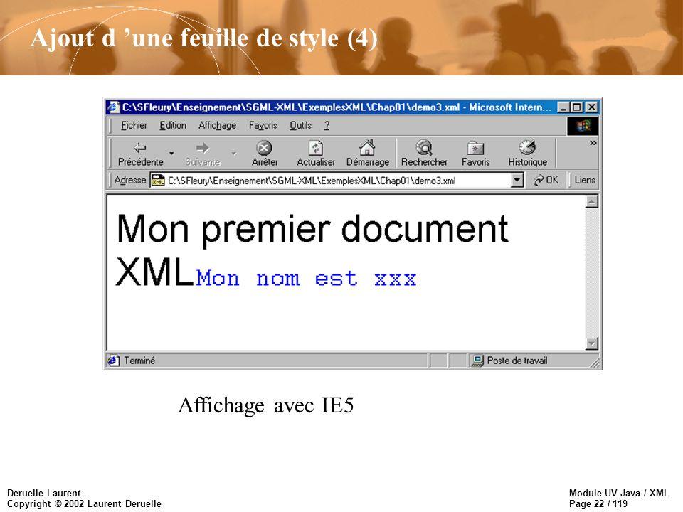 Module UV Java / XML Page 22 / 119 Deruelle Laurent Copyright © 2002 Laurent Deruelle Ajout d une feuille de style (4) Affichage avec IE5