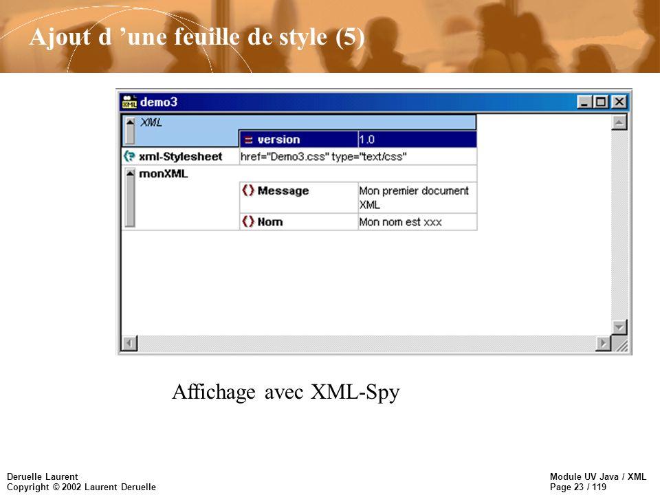 Module UV Java / XML Page 23 / 119 Deruelle Laurent Copyright © 2002 Laurent Deruelle Ajout d une feuille de style (5) Affichage avec XML-Spy