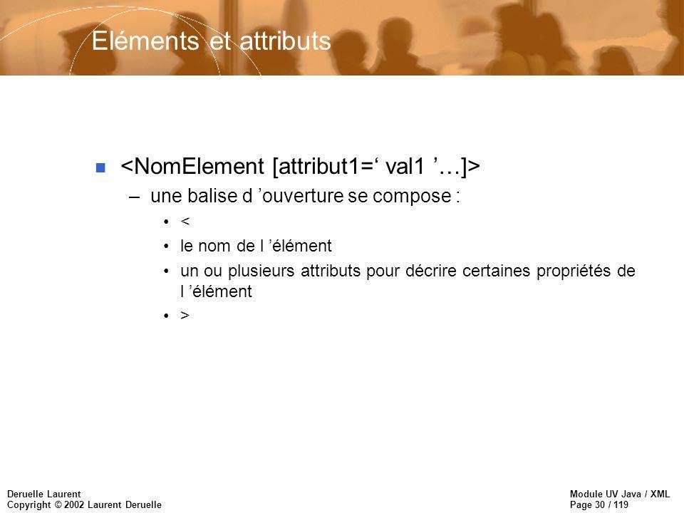 Module UV Java / XML Page 30 / 119 Deruelle Laurent Copyright © 2002 Laurent Deruelle Eléments et attributs n –une balise d ouverture se compose : < l
