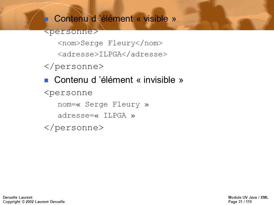 Module UV Java / XML Page 31 / 119 Deruelle Laurent Copyright © 2002 Laurent Deruelle n Contenu d élément « visible » Serge Fleury ILPGA n Contenu d é