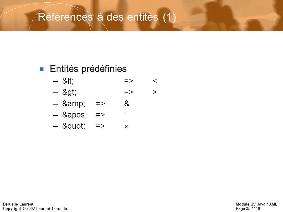 Module UV Java / XML Page 35 / 119 Deruelle Laurent Copyright © 2002 Laurent Deruelle Références à des entités (1) n Entités prédéfinies –&lt; => < –&