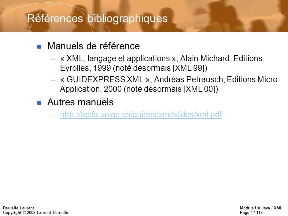 Module UV Java / XML Page 65 / 119 Deruelle Laurent Copyright © 2002 Laurent Deruelle Les liens : lien externe n Ressources cibles –URL –pointeur XML position absolue suivie d une cascade de renvoi relatifs qui spécifient la cible renvoi absolu : –http://foo.bar.fr/foobar.xml#root() (la racine de la cible) –http://foo.bar.fr/foobar.xml#id(t132) (l élément contenant l attribut ID) –http://foo.bar.fr/foobar.xml#html(perso) (un élément ayant un attribut name qui a pour valeur perso)