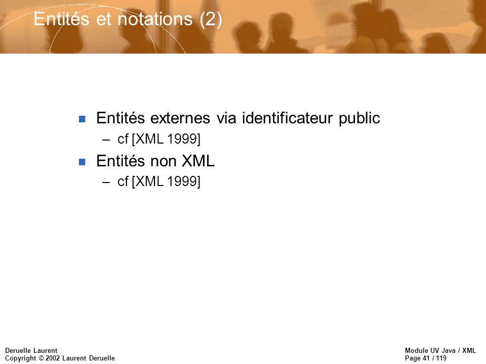 Module UV Java / XML Page 41 / 119 Deruelle Laurent Copyright © 2002 Laurent Deruelle Entités et notations (2) n Entités externes via identificateur p