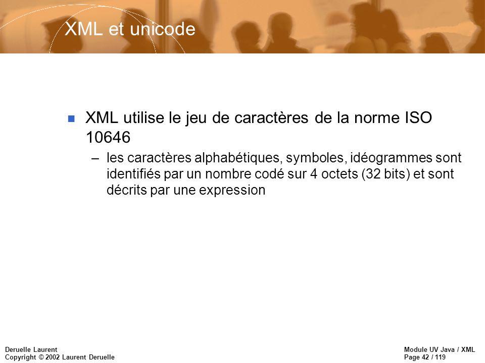 Module UV Java / XML Page 42 / 119 Deruelle Laurent Copyright © 2002 Laurent Deruelle XML et unicode n XML utilise le jeu de caractères de la norme IS