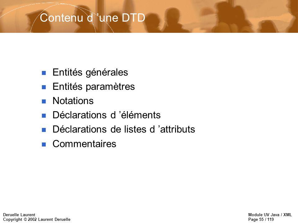 Module UV Java / XML Page 55 / 119 Deruelle Laurent Copyright © 2002 Laurent Deruelle Contenu d une DTD n Entités générales n Entités paramètres n Not