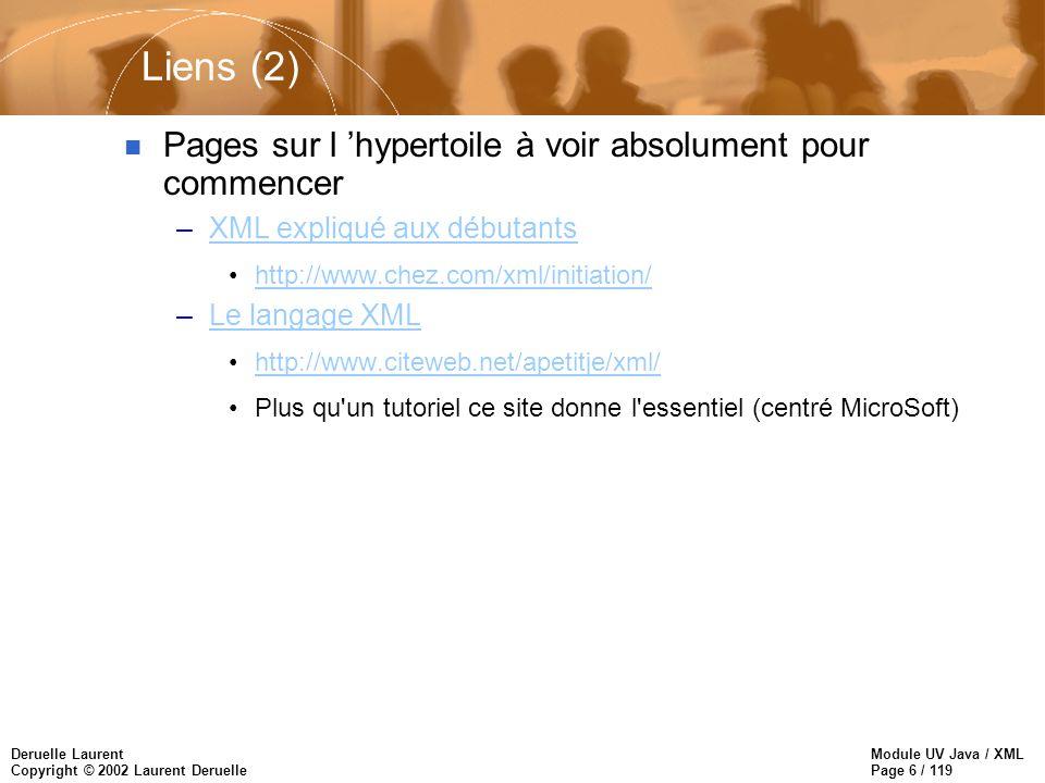 Module UV Java / XML Page 67 / 119 Deruelle Laurent Copyright © 2002 Laurent Deruelle Syntaxe des liens n URL : –http://foo.bar.fr/cible.xml n URL+pointeur : –http://foo.bar.fr/cible.xml#root().child(1,titre) la résolution du pointeur est faite par l application cliente –http://foo.bar.fr/cible.xml root().child(1,titre) la résolution du pointeur est faite par l application cliente ou par le serveur n Pointeur : –#root().child(1,titre)