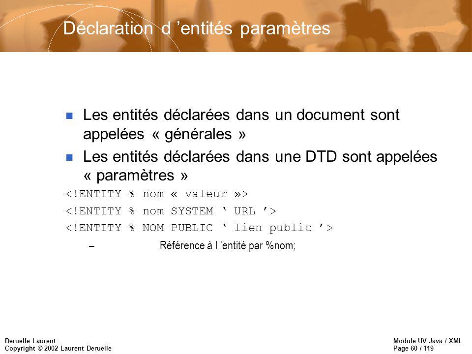 Module UV Java / XML Page 60 / 119 Deruelle Laurent Copyright © 2002 Laurent Deruelle Déclaration d entités paramètres n Les entités déclarées dans un